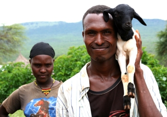 Siblings Duri and Abdulkadir and their goat, Melka Oda village, Oromiya, Ethiopia.