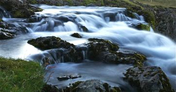 Upstream of waterfall, Kirkjufell mountain, Snæfellsnes Peninsula.