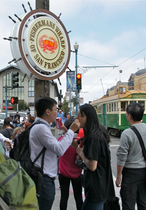 Snack time at Fisherman's Warf, San Francisco.