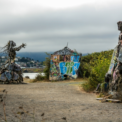 The end of the world? Not really, just a strange setup of monsters of iron and wood. Scary atmosphere, and not because of local residents, but the statues that look like they start moving after sunset. http://www.albanybulb.com Photo: Miikka Järvinen