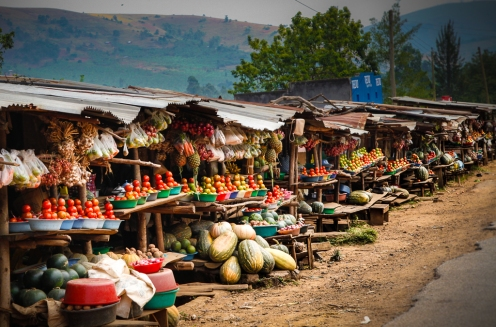 Fruits, vegetables and other foods for sale by the highway near Kabale town in southwestern Uganda.
