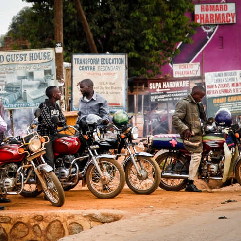 Motorcycle taxis aka boda bodas in suburban Kampala, Uganda.