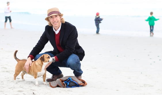 Gentleman with his dog on the beach, Carmel by the Sea, California