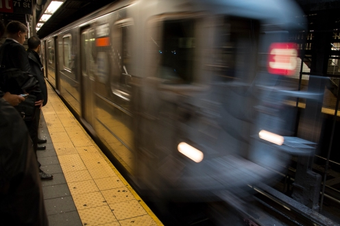 Approaching train in NYC Subway.