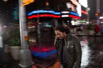 Times Square in the rain.