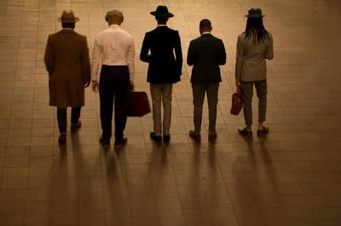 Gentlemen posing in photo session at Grand Central NYC.