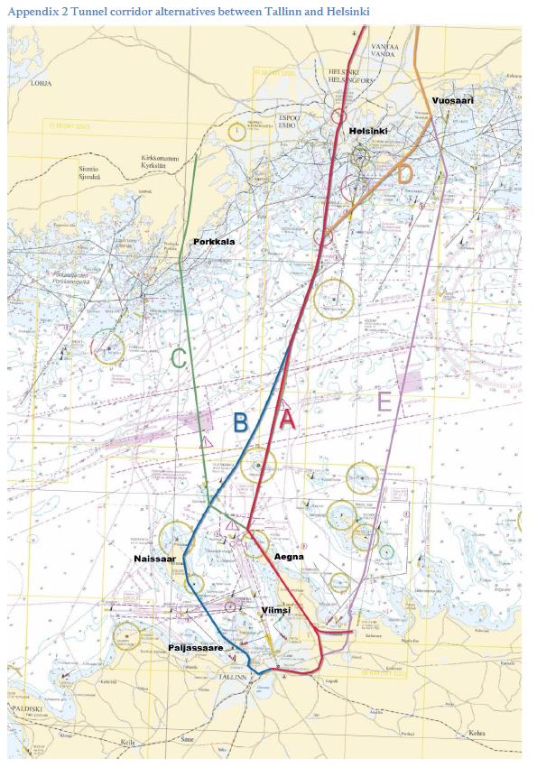 Suunnitelluista reittivaihtoehdoista A on matkustaja- ja tavaraliikenteen kannalta nopein. Tunneli kulkee Helsingin Pasilasta Tallinnan Muugan rahtisataman kautta Ülemisteen, lähelle lentokenttää.