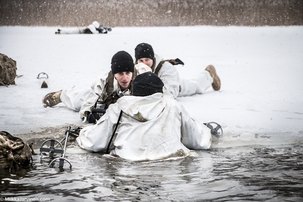 US Army soldiers training cold-weather winter warfare in Lavia.